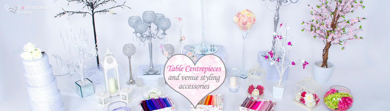 Table centrepeices and venue styling accessories to transform your wedding