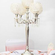 5 Arm Crystal and Silver Globe Candelabra
