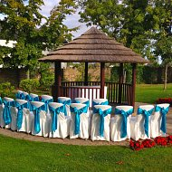 Stunning aqua blue satin sash bows over white cotton chair covers