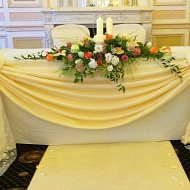 Radiant yellow top table satin drape with white lace decoration