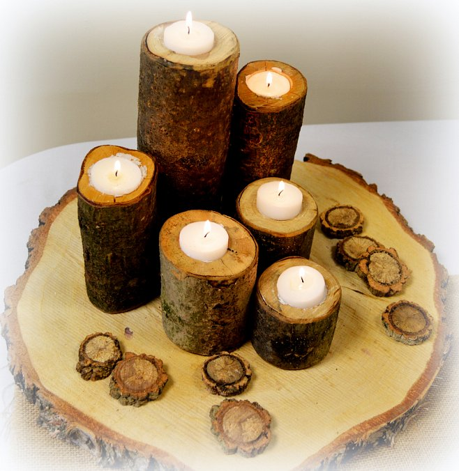 Log Display With Tea-Lights