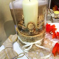 Glass Vase with Candle and Rustic Log Base