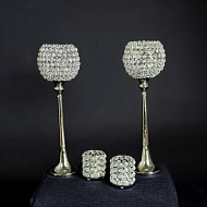 Single Crystal and Silver Globe Tea-light Holder
